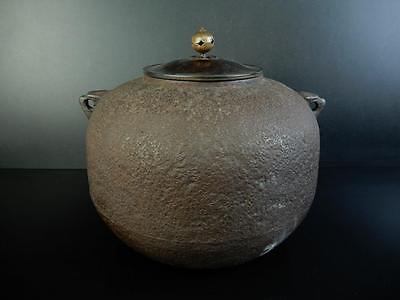 F2306: Japanese Old Iron rough surface TEAKETTLE Teapot Chagama w/copper lid