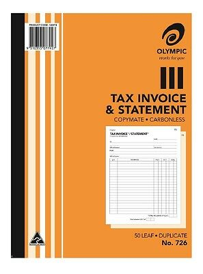 5 x Olympic No.726 Tax Invoice and Statement Books Duplicate Carbonless 140874