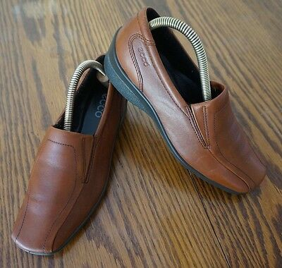 ECCO Brown Leather Bicycle Toe Loafer Shoes Women's size 37 US 6.5