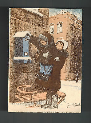 Mint 1943 USSR Soviet Union Russia Postcard Two Children Mailing Letter in Snow