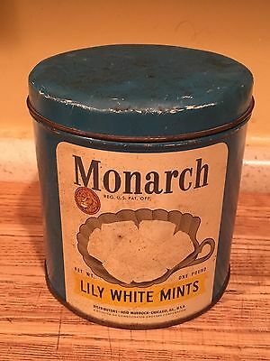 Vintage Monarch 1 Pound Lily White Mints Tin W/ Lid Original Advertising
