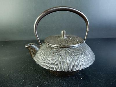 C8023: Japanese Iron Plum sculpture Unused TEA KETTLE Teapot Tetsubin, auto