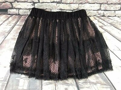 NWT VANITY Mini Skirt Full Layered Pink under Black Lace Overlay Size M