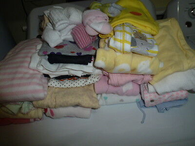 Lot of Fall Baby Girl Clothes, Mostly Newborn, Few 6-9 mnth, 32 Items in All