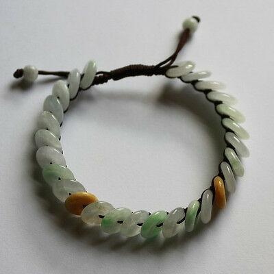 100% Natural (Grade A) Untreated Multi-Color Jadeite Jade Circle Donuts Bracelet