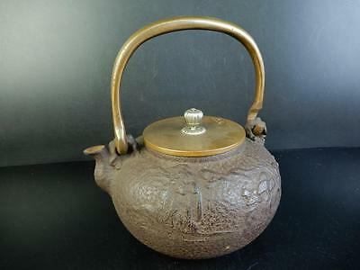 C5222: Japanese Old Iron TEA KETTLE Teapot Tetsubin, Kibundo made