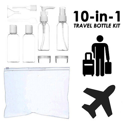 NEW 10in1 Holiday Air Travel Clear Bottle Set Vacation Travel Bottle Kit