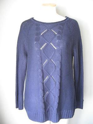 Navy Debenhams Collection Cable Knit Jumper Size 18