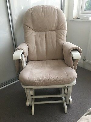 Tutti Bambini Gliding Nursing Chair White/Beige & Stool (see descript. re stool)