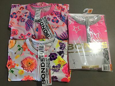 "Bonds Baby Zip Zippy Wondersuits 3 Bundle Bulk ""FLORAL KYOTO'' BNWT Girl Size 00"