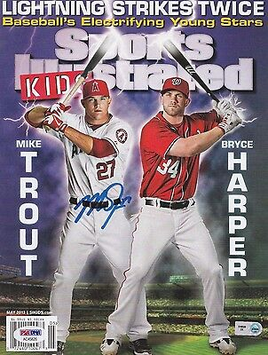 Mike Trout Signed Baseball Sports Illustrated Magazine With Bryce Harper PSA/MLB