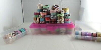 HUGE Lot of Washi Tape 175+ Rolls Plus Storage Containers Planner Crafting