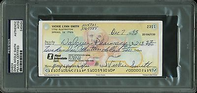 """Anna Nicole """"Vickie"""" Smith Playboy Signed Check Dated Dec 7th, 1993 PSA Slabbed"""