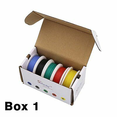50m 30AWG Silicone Wire 5 color Mix box 1 package Electrical Wire Line Copper