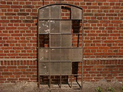 Huge  24 Pane Vintage Cast Iron Arched Industrial Metal Window Frame