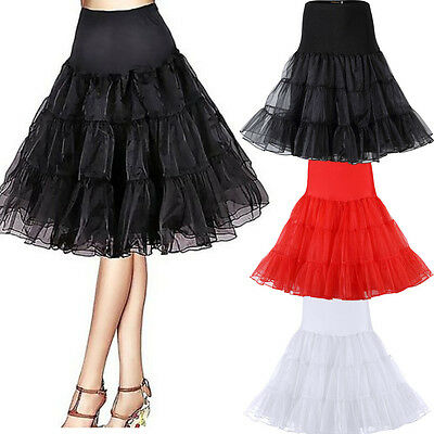 Length Rockabilly Crinoline Petticoat Vintage US Skirt Swing 50s Tea Underskirt