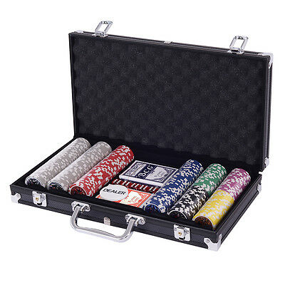 Poker Chip Set 300 Dice Chips Texas Hold'em Cards with Black Aluminum Case New