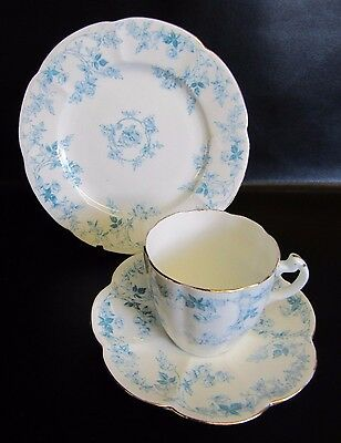Foley, Wileman Shelley Lily Shaped Blue Rose Pattern Trio - Cup, Saucer, Plate 1