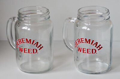 Set Of 2 Jeremiah Weed Drink Glasses Glass Tankard With Handles