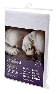 BabyRest Deluxe Towelling Change Mattress Cover Combo (White) - 800 x 420 x 75mm