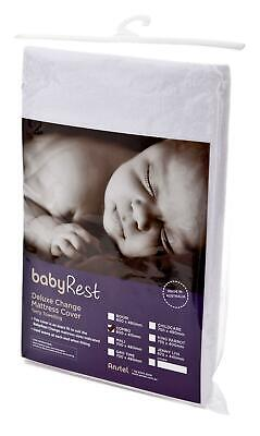 BabyRest Deluxe Towelling Change Mattress Cover Childcare (White) - 750 x 490 x