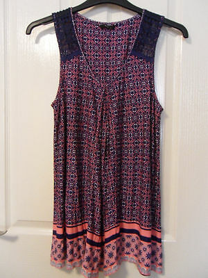 NEW M&Co Size 12  Ladies Womens Navy & Pink Tunic Top   BOHO
