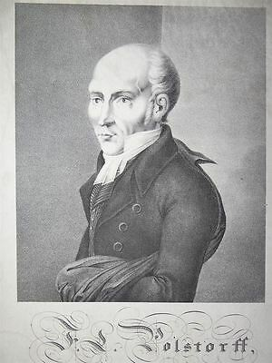 Friedrich Ludwig Polstorf Portrait Prediger Celle Lithographie 19. Jh.