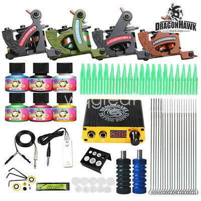 Tattoo kit 4 Handmade Machine Guns Power supply Needle Grip Tip USA color inks