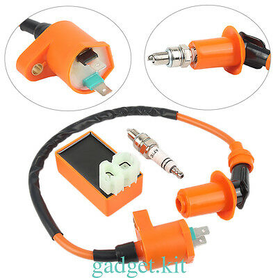 Racing AC CDI Box 6 Pin+Ignition Coil +Spark Plug for GY6 50-150cc Moped Scooter