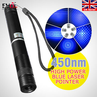 Most Powerful 450nm Blue Laser Pointers Strong Lazer Torch Focus Burning Paper