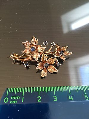 9 Carat Gold And Sapphire Brooch