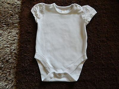 Next Baby Girls White All In One Body With Broderie Anglais Sleeves 3-6 Months