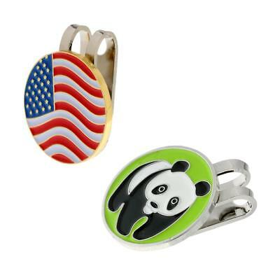 Panda and American Flag Golf Ball Marker With Magnetic Hat Clip,2 Pieces