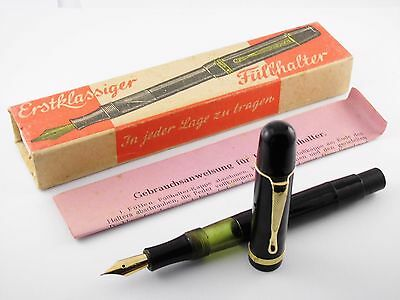 Vintage Fountain Pen-Black Piston Filler-Box & Papers-Made in Germany 1930s-NOS