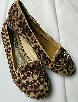 Marks and Spencers girls UK size 1 leopard print shoes, with stud detail. New