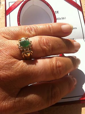 bague T 53 emeraude et 12 diamants Or 14 Carats ( val 750 euro)+ CERTIFICAT