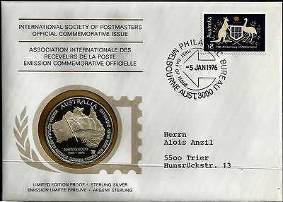 ISP PNC coin & stamp cover 1976 Australian Nationhood silver medallion
