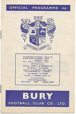 BURY v SOUTHAMPTON, Season 1962-63, League Division 2