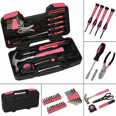 Pink 39 piece DIY Household Home Hand Tool Set Kit Box with Hard Storage Case