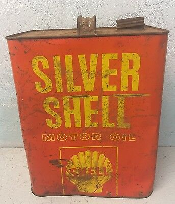 Old Silver Shell 2 Gallon Motor Oil Can