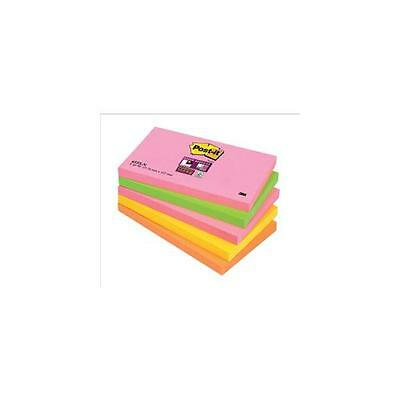 [Pack 5] 655SN Post-it Super Sticky Notes 76x127mm Neon Rainbow