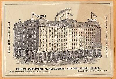 1900s Paine's Furniture Manufactory, Boston MA advertising card, history below