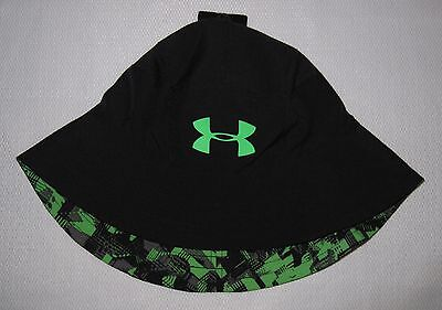 Youth Boys Under Armour Reversible Switchback Bucket Sun Hat Black/green Nwt