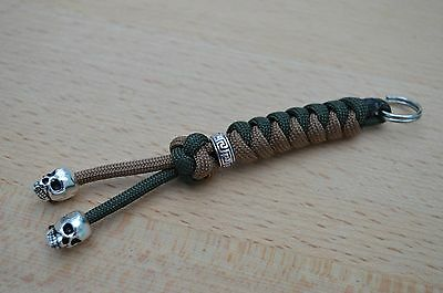 Paracord Skull Lanyard/ Keyring for Multi Tool, Knife etc (Brown & Army Green) R