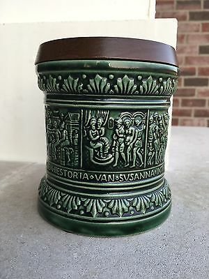 """Vintage Marzi and Remi Tobacco Jar Green With Wood Top Made in Germany 5"""""""