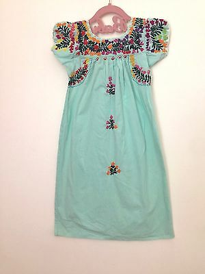 Vintage Child's 70s Mexican Hand Embroidered Fiesta prop Sea foam Green Dress