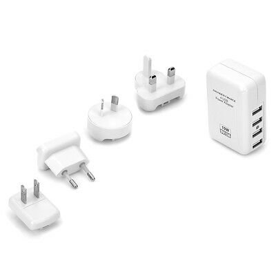5V 2A/1A/0.66A/0.5A Power Adapter w/US/AU/UK/EU Plug 4 Port USB Wall Charger