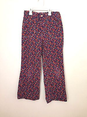 Vintage 1970's Child's BELL BOTTOM prop hippie festival Purple Floral Jean Pants