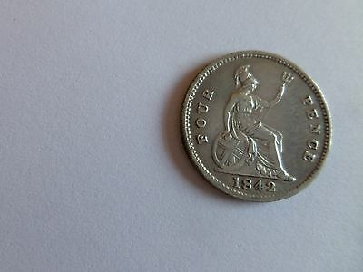 1842 Silver Four Pence (Groat) Coin