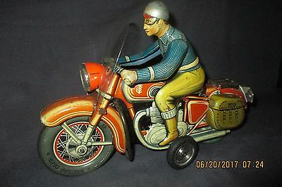 TCO TIPP & Co TIN LITHO FRICTION MOTORCYCLE Germany w/ Rider & Windscreen